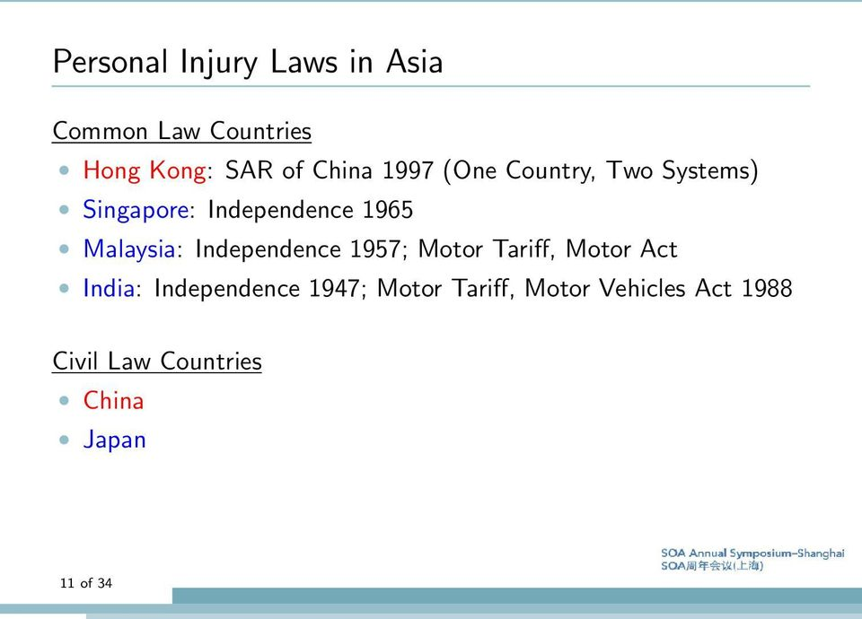 Malaysia: Independence 1957; Motor Tariff, Motor Act India: Independence