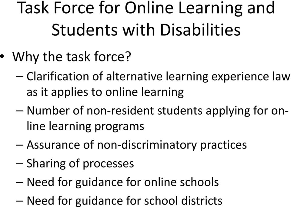 of non resident students applying for on line learning programs Assurance of non