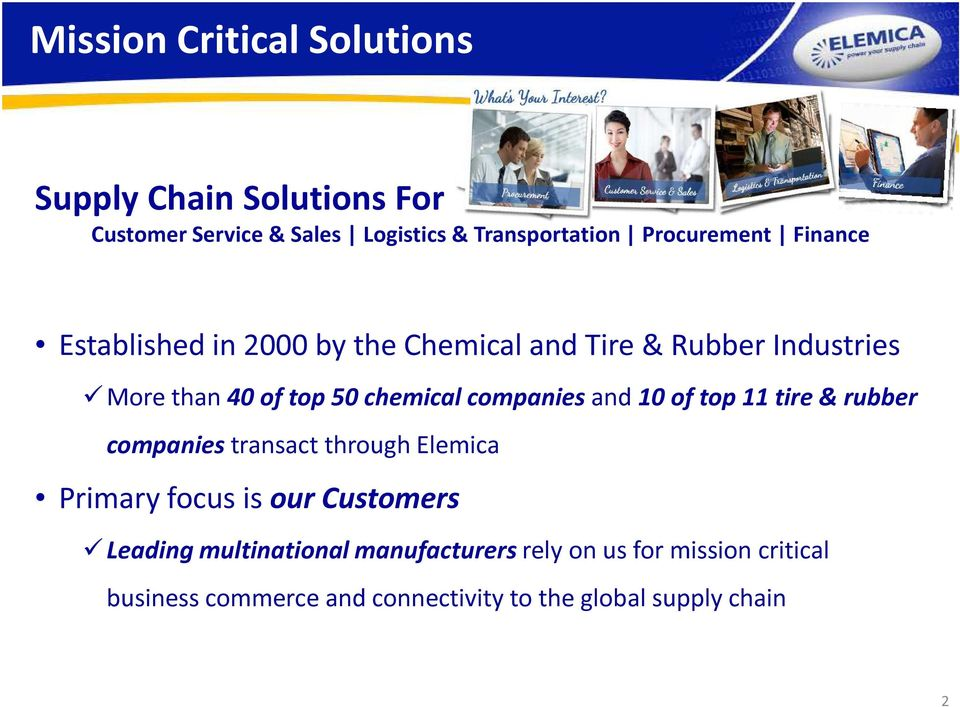 chemical companies and 10 of top 11 tire & rubber companies transact through Elemica Primary focus is our Customers