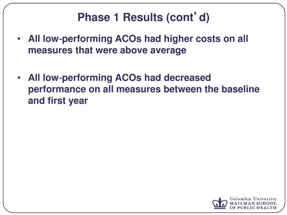 average All low performing ACOs had decreased