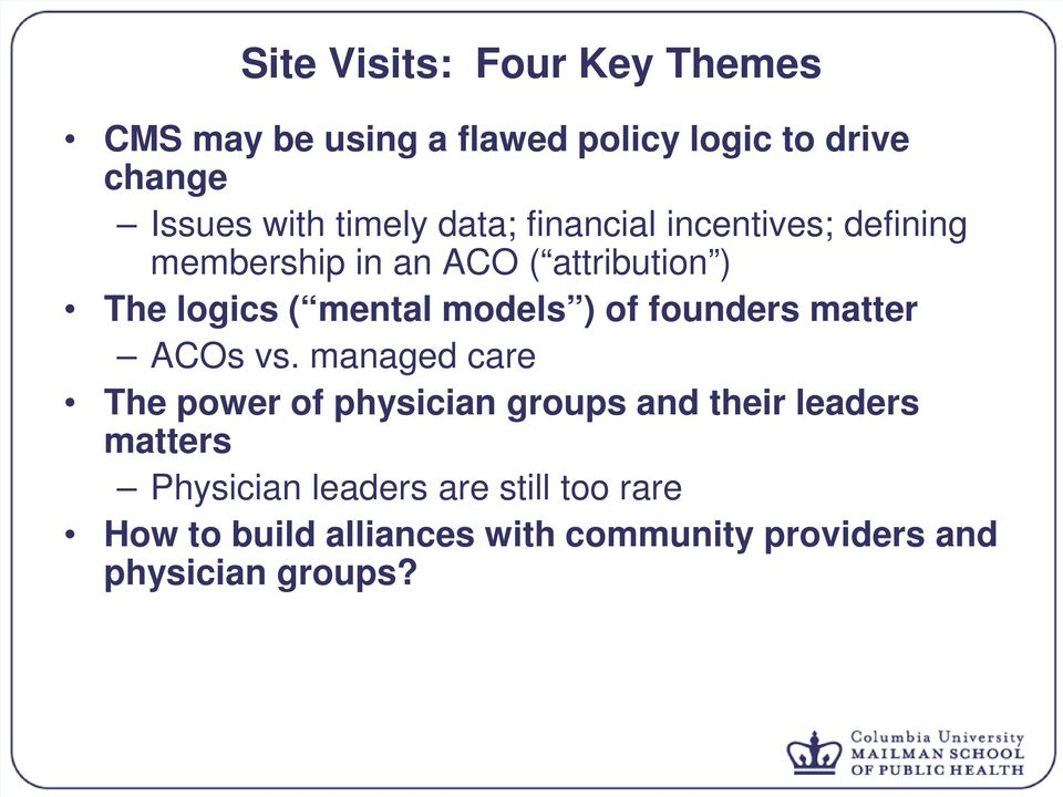 of founders matter ACOs vs.