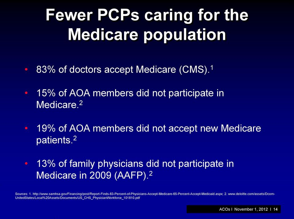 2 Sources: 1. http://www.samhsa.gov/financing/post/report-finds-83-percent-of-physicians-accept-medicare-65-percent-accept-medicaid.