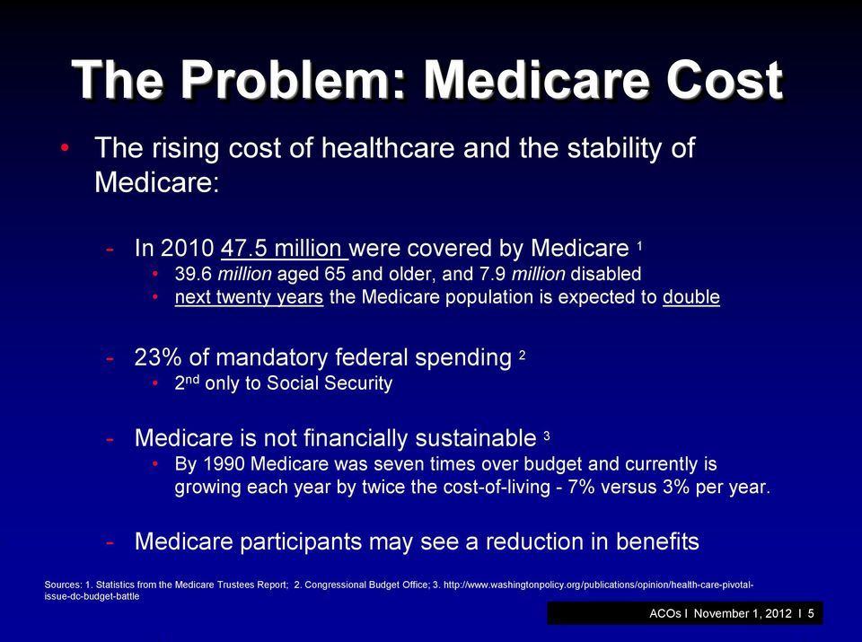 By 1990 Medicare was seven times over budget and currently is growing each year by twice the cost-of-living - 7% versus 3% per year.