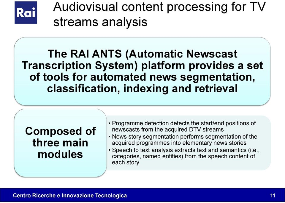 start/end positions of newscasts from the acquired DTV streams News story segmentation performs segmentation of the acquired programmes into