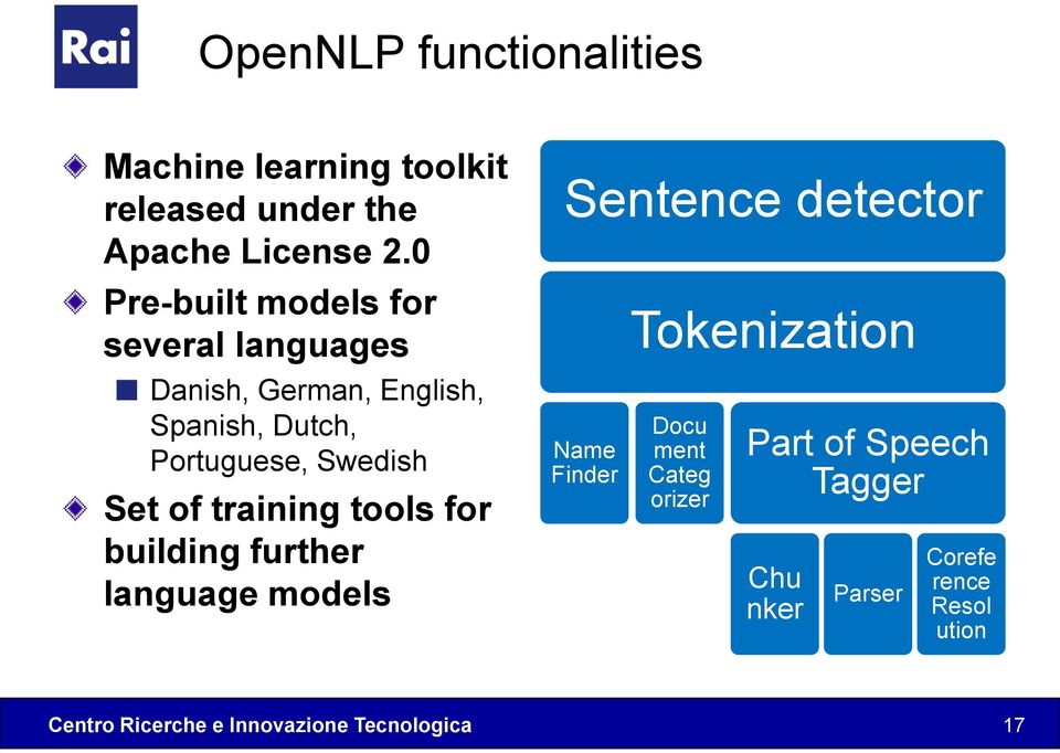 Swedish Set of training tools for building further language models Sentence detector Name