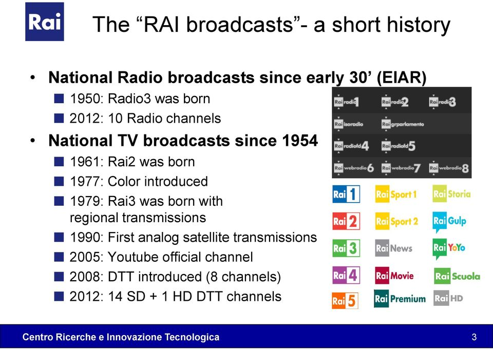 introduced 1979: Rai3 was born with regional transmissions 1990: First analog satellite