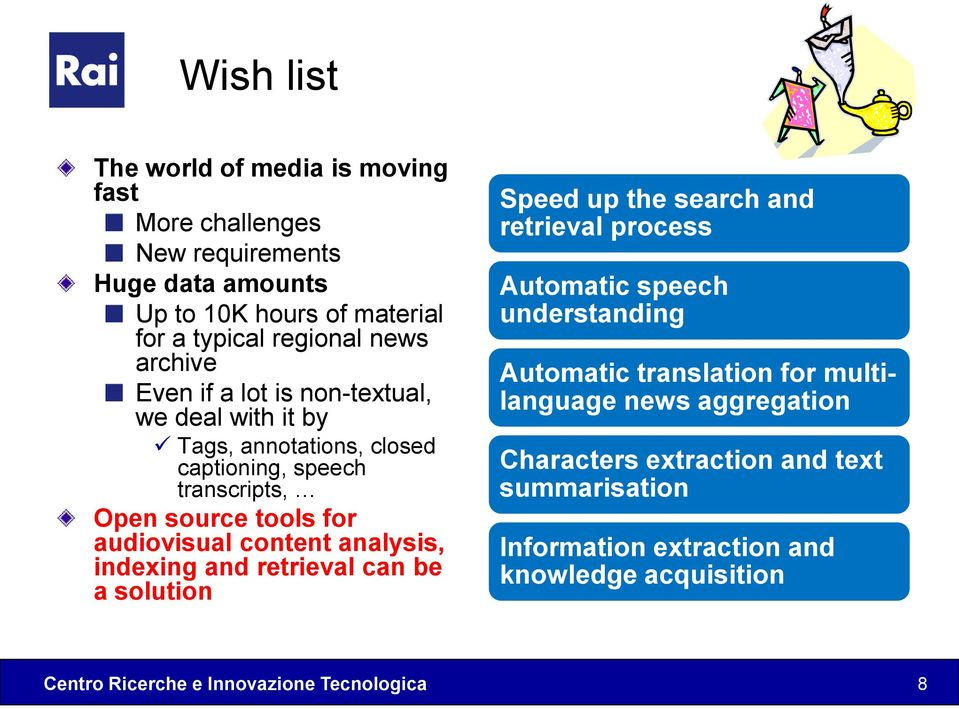 audiovisual content analysis, indexing and retrieval can be a solution Speed up the search and retrieval process Automatic speech understanding