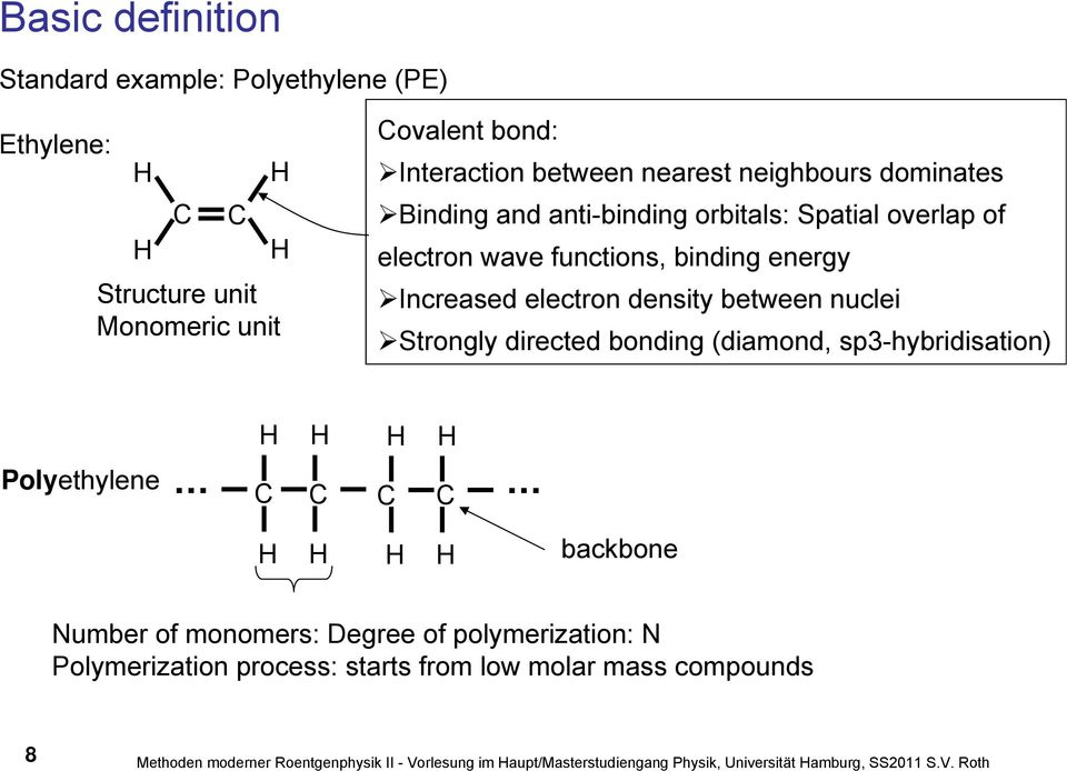 Strongly directed bonding (diamond, sp3-hybridisation) Polyethylene C C C C backbone Number of monomers: Degree of polymerization: N Polymerization