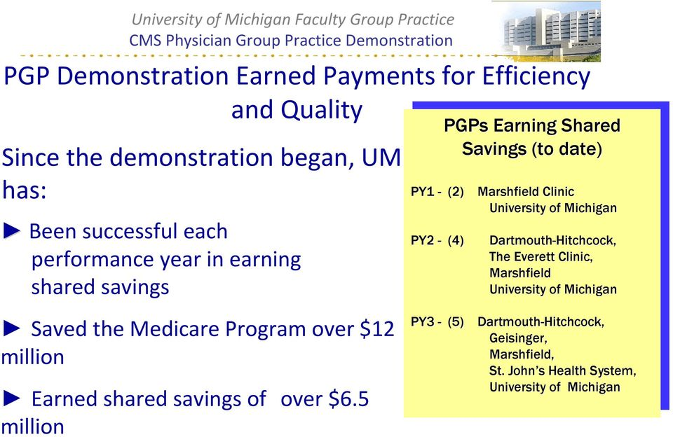 5 million PGPs PGPs Earning Earning Shared Shared Savings Savings (to (to date) date) PY1 - (2) Marshfield Clinic PY1 - (2) Marshfield Clinic University of Michigan University of Michigan PY2 - (4)