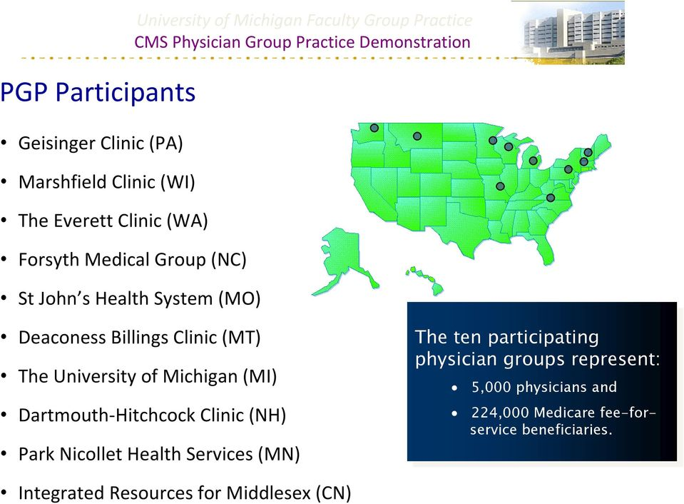 Clinic (NH) Park Nicollet Health Services (MN) The The ten ten participating physician groups represent: 5,000 5,000 physicians