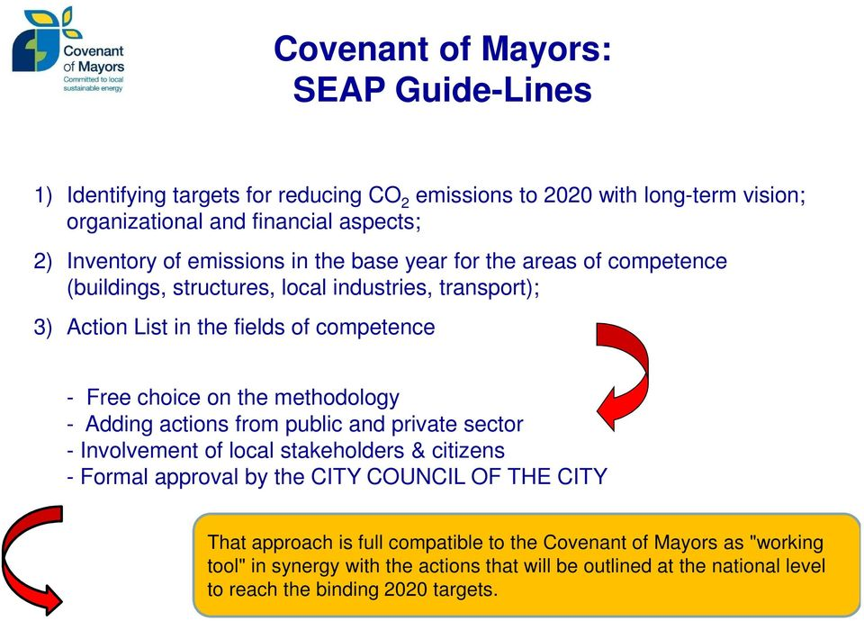 the methodology - Adding actions from public and private sector - Involvement of local stakeholders & citizens - Formal approval by the CITY COUNCIL OF THE CITY That
