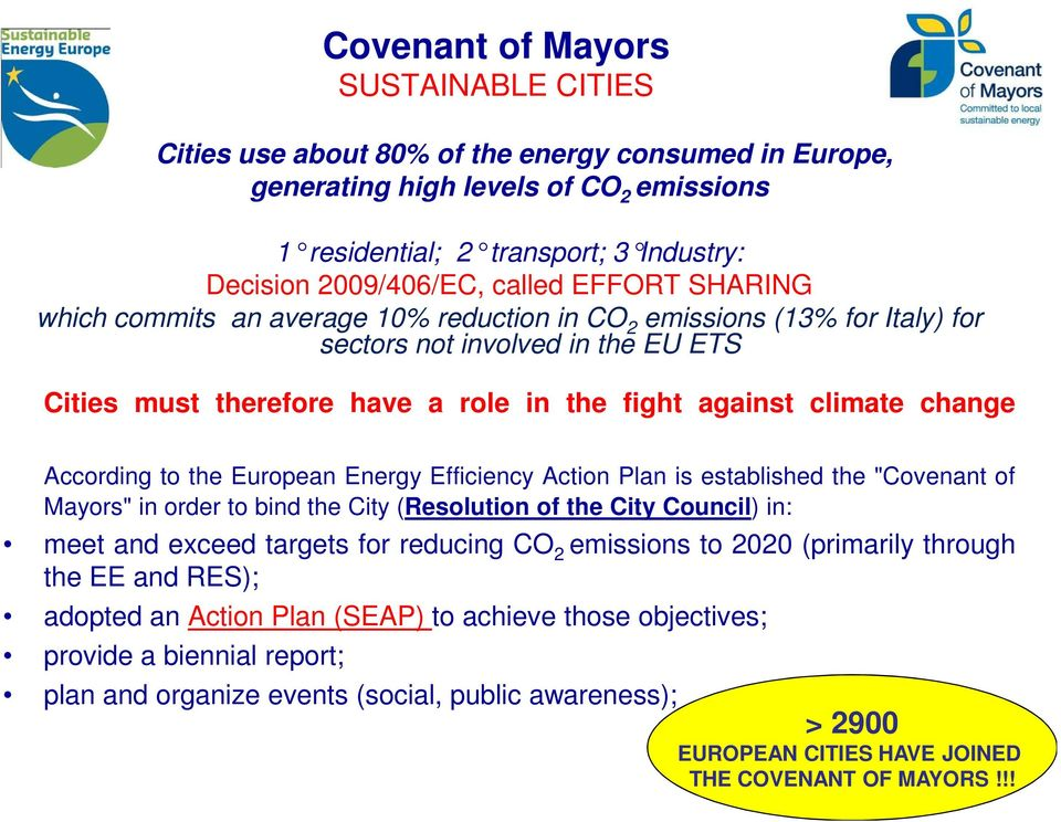"change According to the European Energy Efficiency Action Plan is established the ""Covenant of Mayors"" in order to bind the City (Resolution of the City Council) in: meet and exceed targets for"