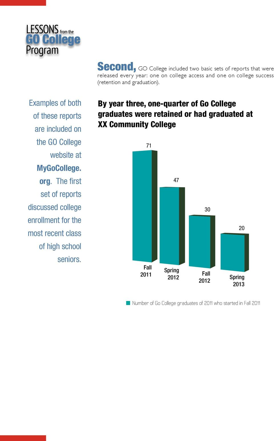 The first set of reports discussed college enrollment for the most recent class of high school seniors.