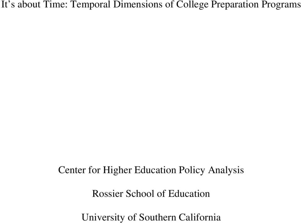 Higher Education Policy Analysis Rossier