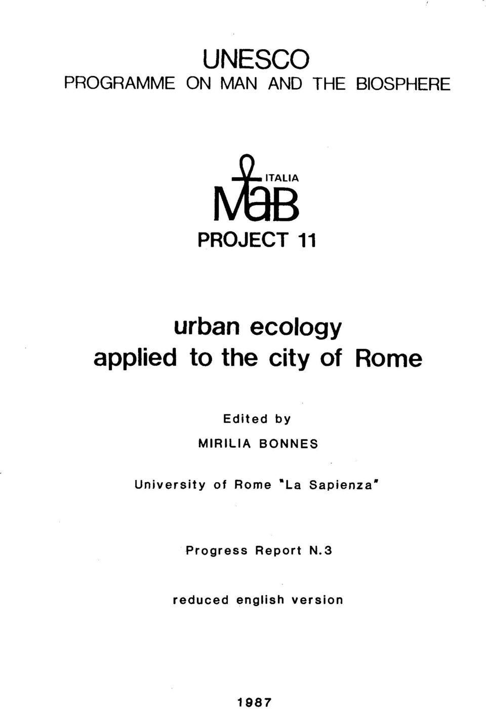 of Rome MIRILIA Edited by BONNES University of Rome