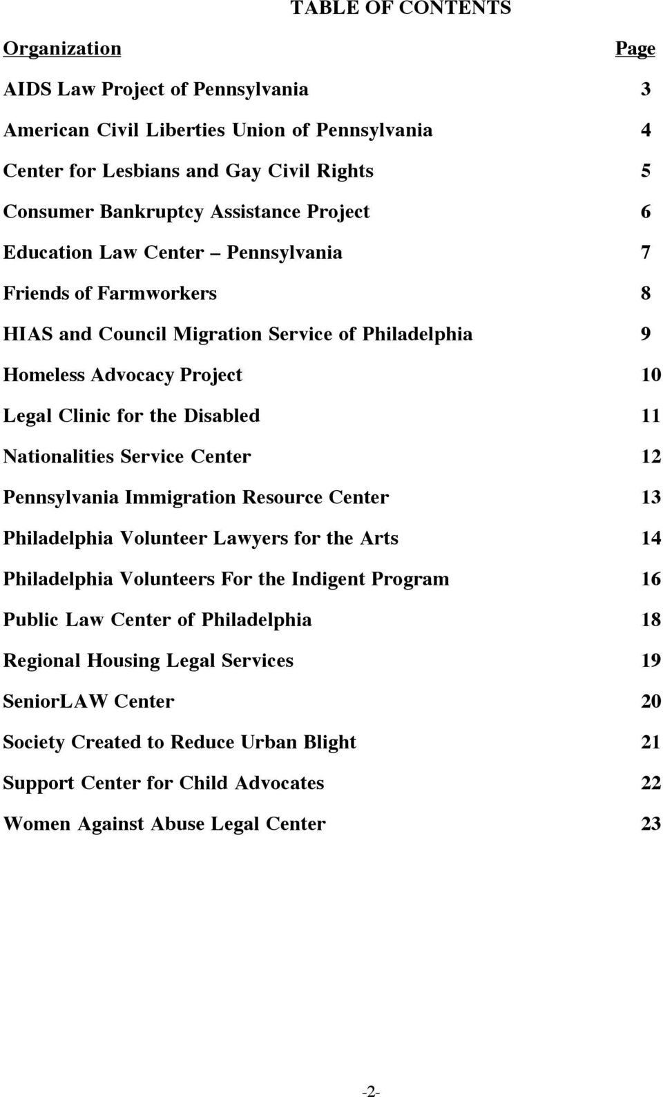 Disabled 11 Nationalities Service Center 12 Pennsylvania Immigration Resource Center 13 Philadelphia Volunteer Lawyers for the Arts 14 Philadelphia Volunteers For the Indigent Program 16