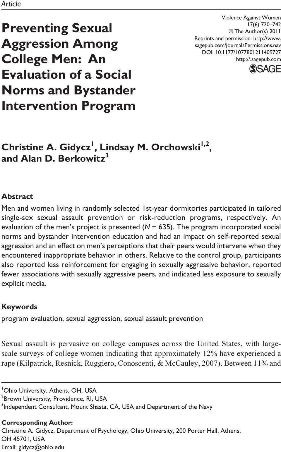 2011 Reprints and permission: http://www. sagepub.com/journalspermissions.nav DOI: 10.1177/1077801211409727 http://.sagepub.com Christine A. Gidycz 1, Lindsay M. Orchowski 1,2, and Alan D.