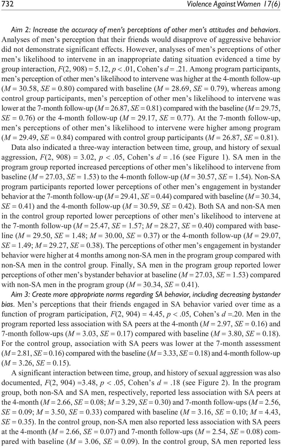 However, analyses of men s perceptions of other men s likelihood to intervene in an inappropriate dating situation evidenced a time by group interaction, F(2, 908) = 5.12, p <.01, Cohen s d =.21.