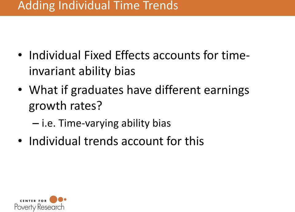 if graduates have different earnings growth rates? i.