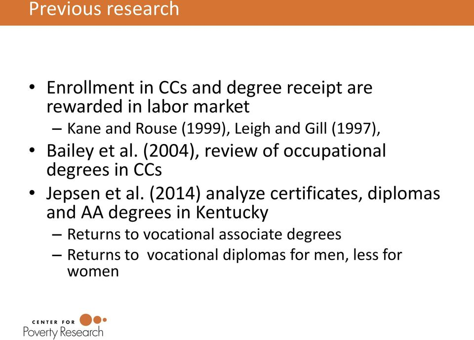 (2004), review of occupational degrees in CCs Jepsen et al.