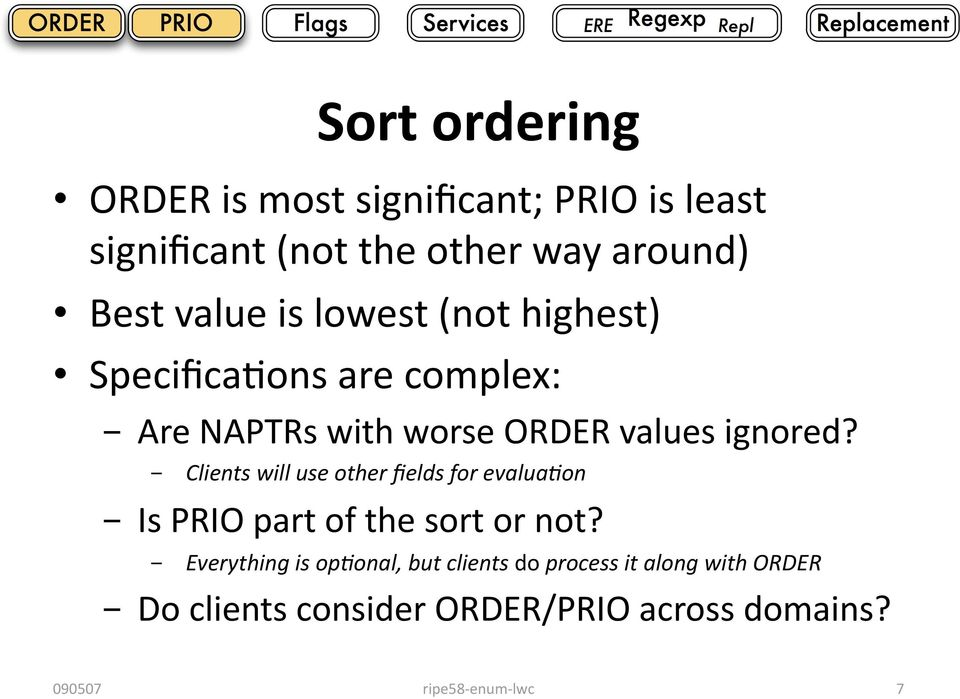 ignored? - Clients will use other fields for evaluaqon - Is PRIO part of the sort or not?
