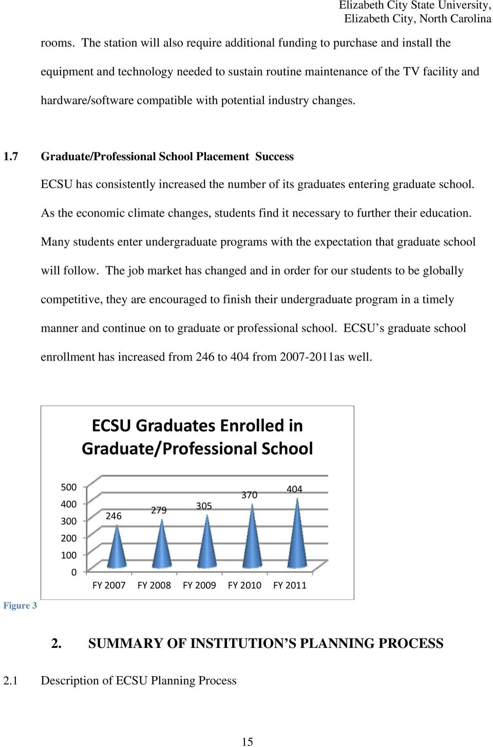potential industry changes. 1.7 Graduate/Professional School Placement Success ECSU has consistently increased the number of its graduates entering graduate school.