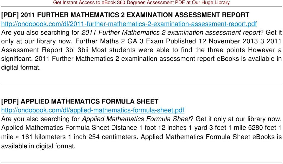 Further Maths 2 GA 3 Exam Published 12 November 2013 3 2011 Assessment Report 3bi 3bii Most students were able to find the three points However a significant.
