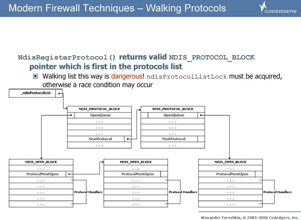 which is first in the protocols list Walking list this way is