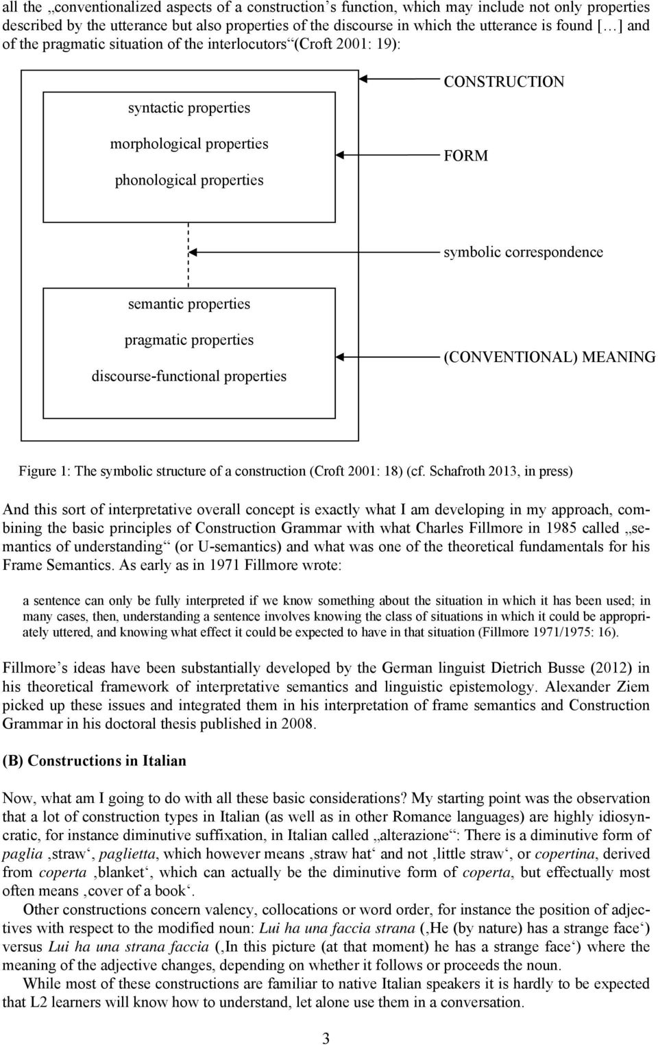 properties pragmatic properties discourse-functional properties (CONVENTIONAL) MEANING Figure 1: The symbolic structure of a construction (Croft 2001: 18) (cf.