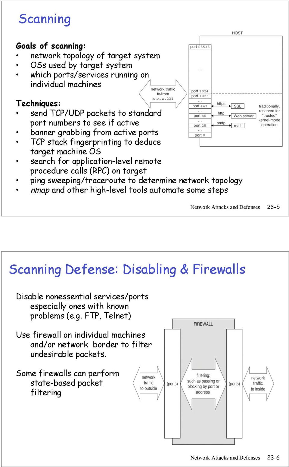 determine network topology nmap and other high-level tools automate some steps Network Attacks and Defenses 23-5 Scanning Defense: Disabling & Firewalls Disable nonessential services/ports especially