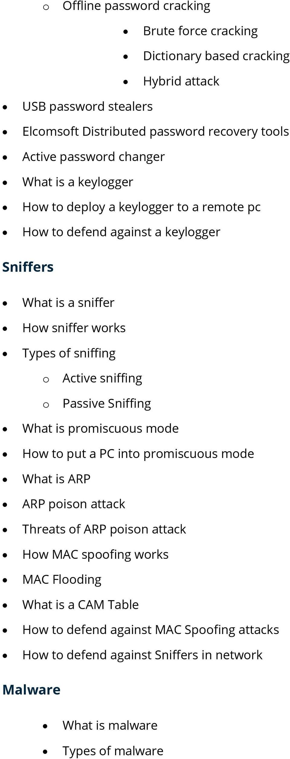 sniffing Active sniffing Passive Sniffing What is prmiscuus mde Hw t put a PC int prmiscuus mde What is ARP ARP pisn attack Threats f ARP pisn attack Hw