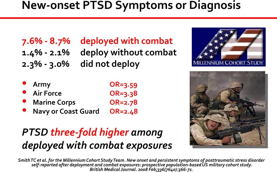 48 PTSD three-fold higher among deployed with combat exposures Smith TC et al. for the Millennium Cohort Study Team.