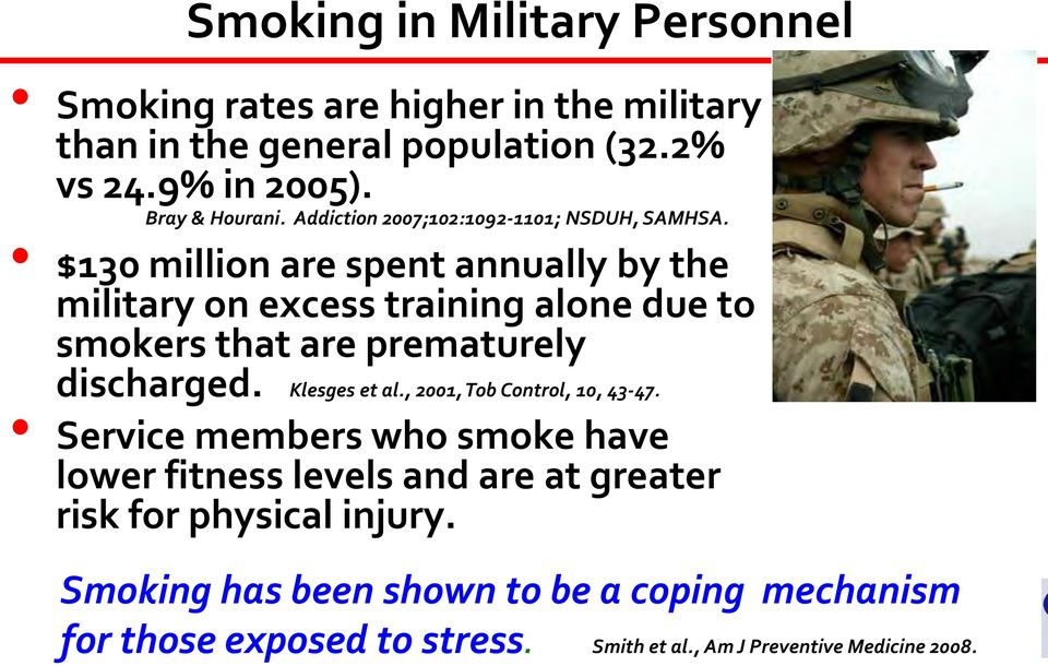 $130 million are spent annually by the military on excess training alone due to smokers that are prematurely discharged. Klesges et al.