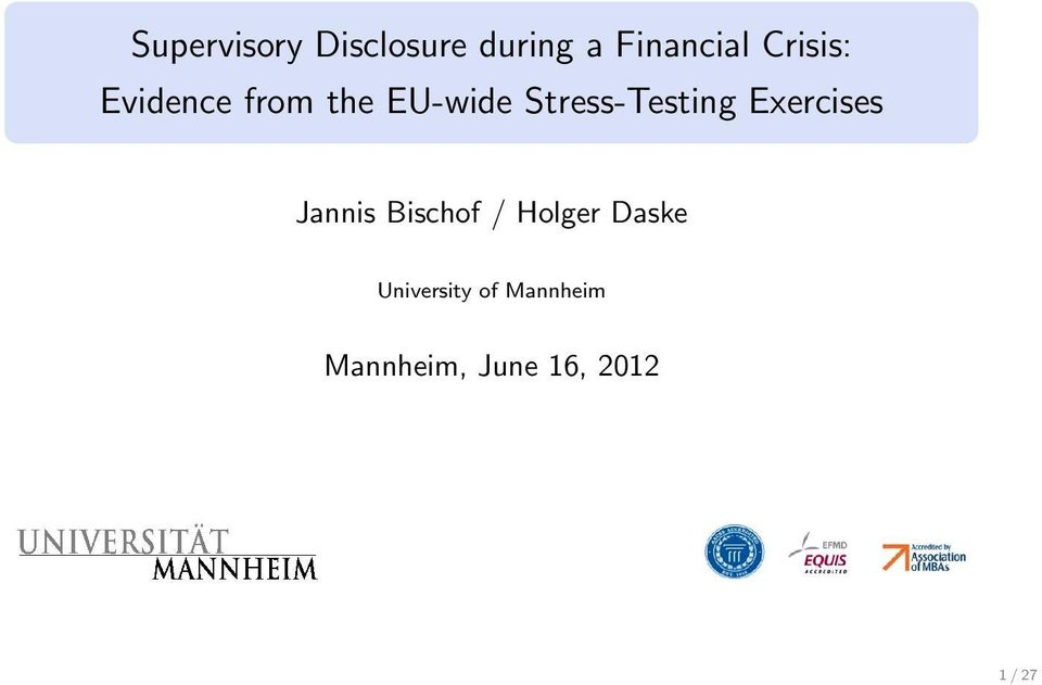 Stress-Testing Exercises Jannis Bischof /