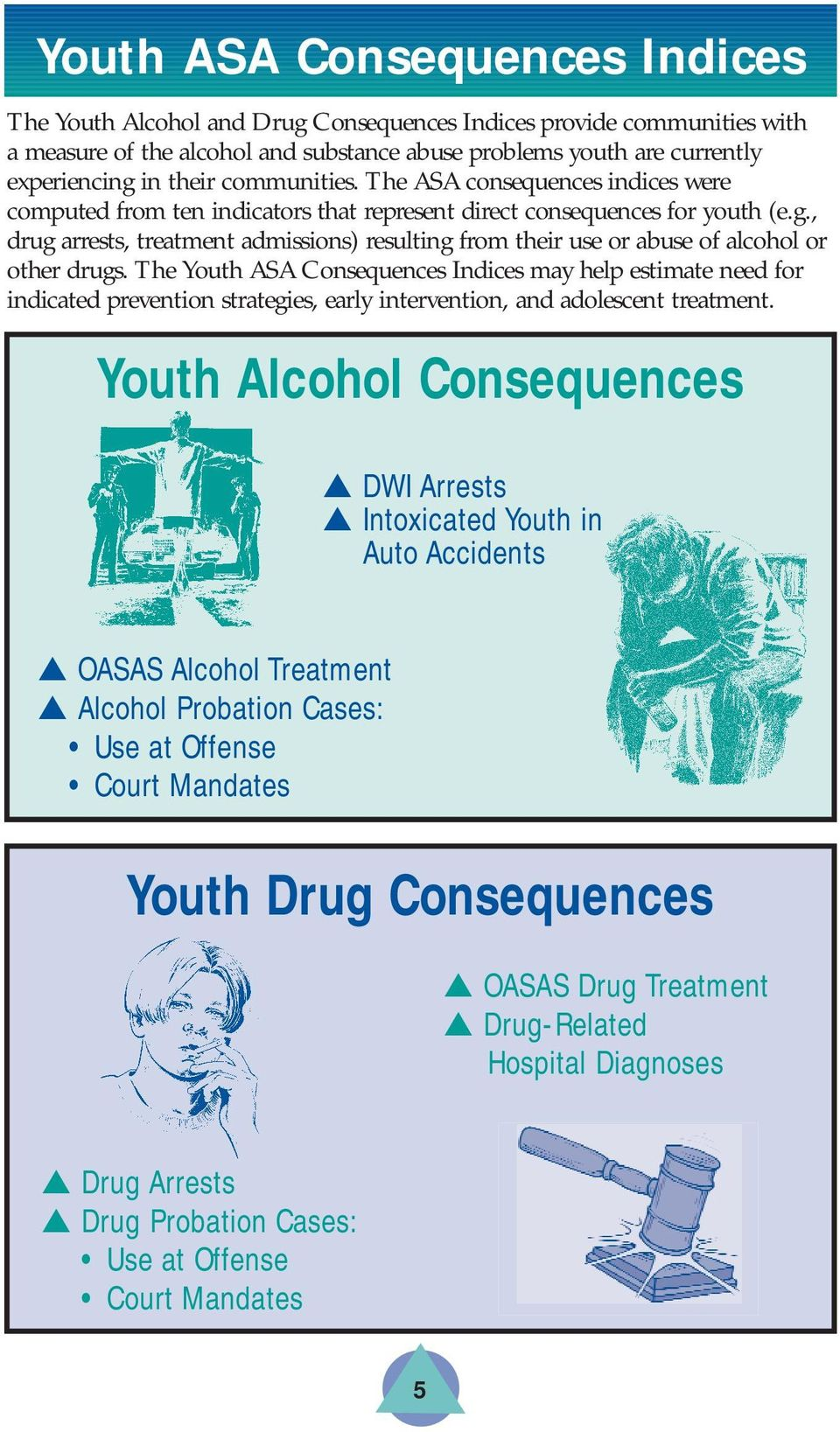 , drug arrests, treatment admissions) resulting from their use or abuse of alcohol or other drugs.