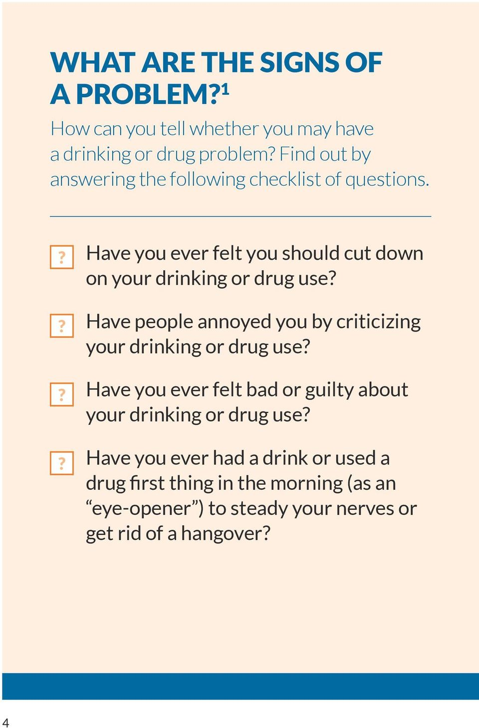 ???? Have you ever felt you should cut down on your drinking or drug use?