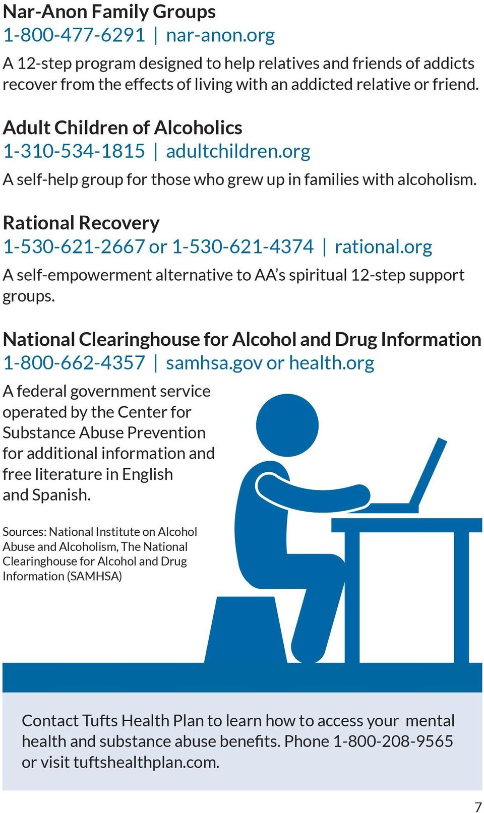 org A self-empowerment alternative to AA s spiritual 12-step support groups. National Clearinghouse for Alcohol and Drug Information 1-800-662-4357 samhsa.gov or health.