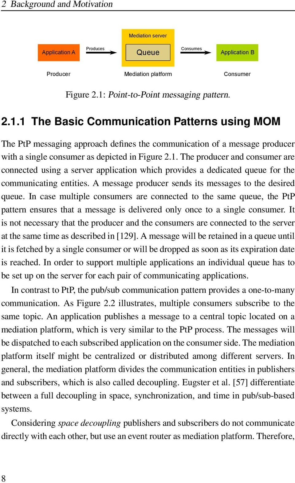 1 The Basic Communication Patterns using MOM The PtP messaging approach defines the communication of a message producer with a single consumer as depicted in Figure 2.1. The producer and consumer are connected using a server application which provides a dedicated queue for the communicating entities.