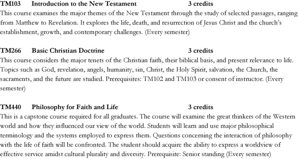 (Every semester) TM266 Basic Christian Doctrine 3 credits This course considers the major tenets of the Christian faith, their biblical basis, and present relevance to life.