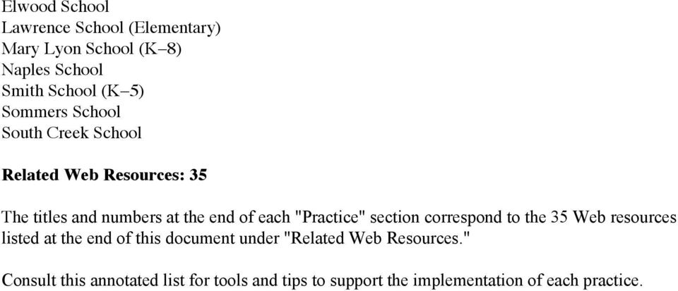 """Practice"" section correspond to the 35 Web resources listed at the end of this document under ""Related"