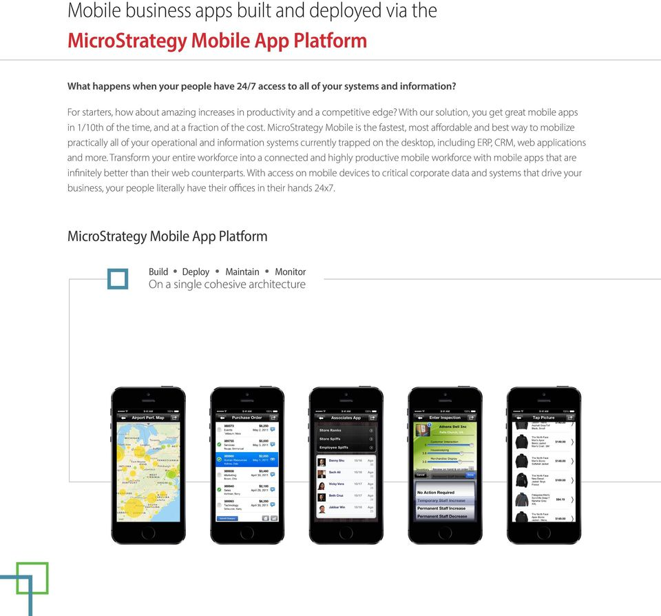 MicroStrategy Mobile is the fastest, most affordable and best way to mobilize practically all of your operational and information systems currently trapped on the desktop, including ERP, CRM, web