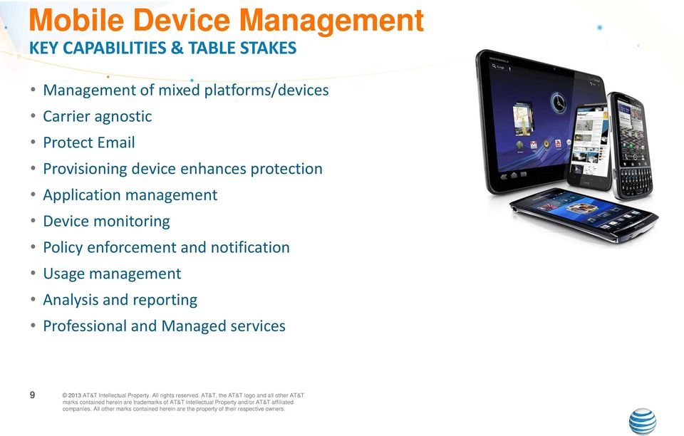 and Managed services 9 2013 AT&T Intellectual Property. All rights reserved.