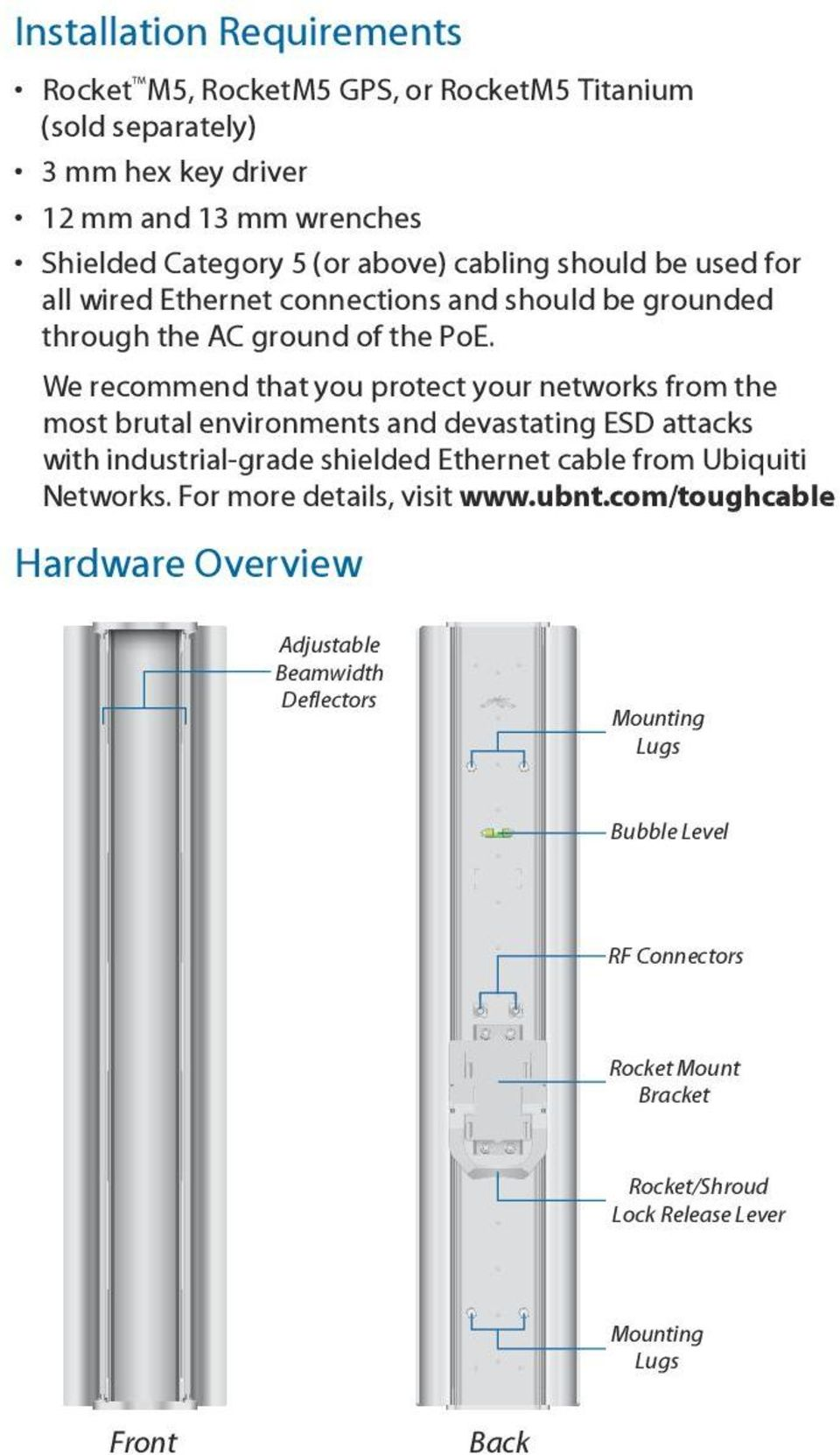 We recommend that you protect your networks from the most brutal environments and devastating ESD attacks with industrial grade shielded Ethernet cable from Ubiquiti