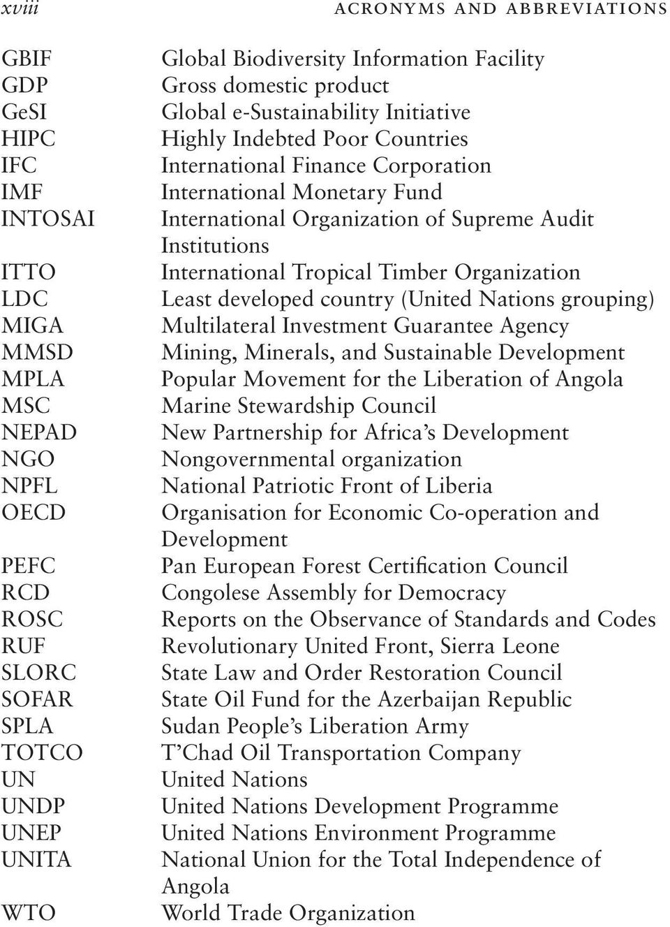 of Supreme Audit Institutions International Tropical Timber Organization Least developed country (United Nations grouping) Multilateral Investment Guarantee Agency Mining, Minerals, and Sustainable