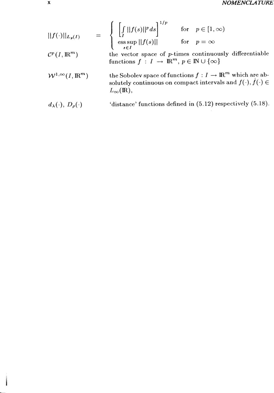 space of ptimes continuously differentiable functions/ : --* R*,p NU{oo} the Sobolev space of