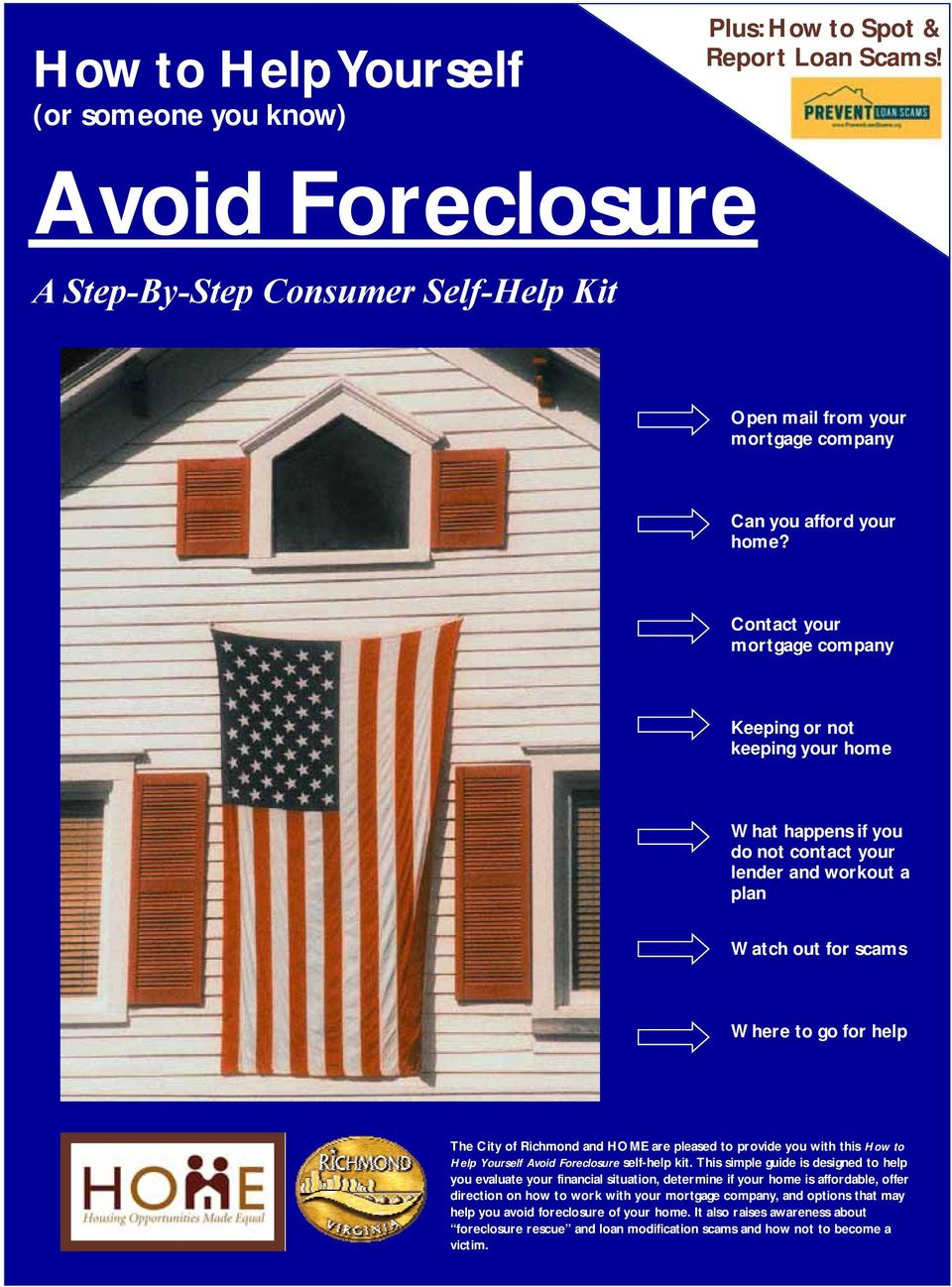 are pleased to provide you with this How to Help Yourself Avoid Foreclosure self-help kit.