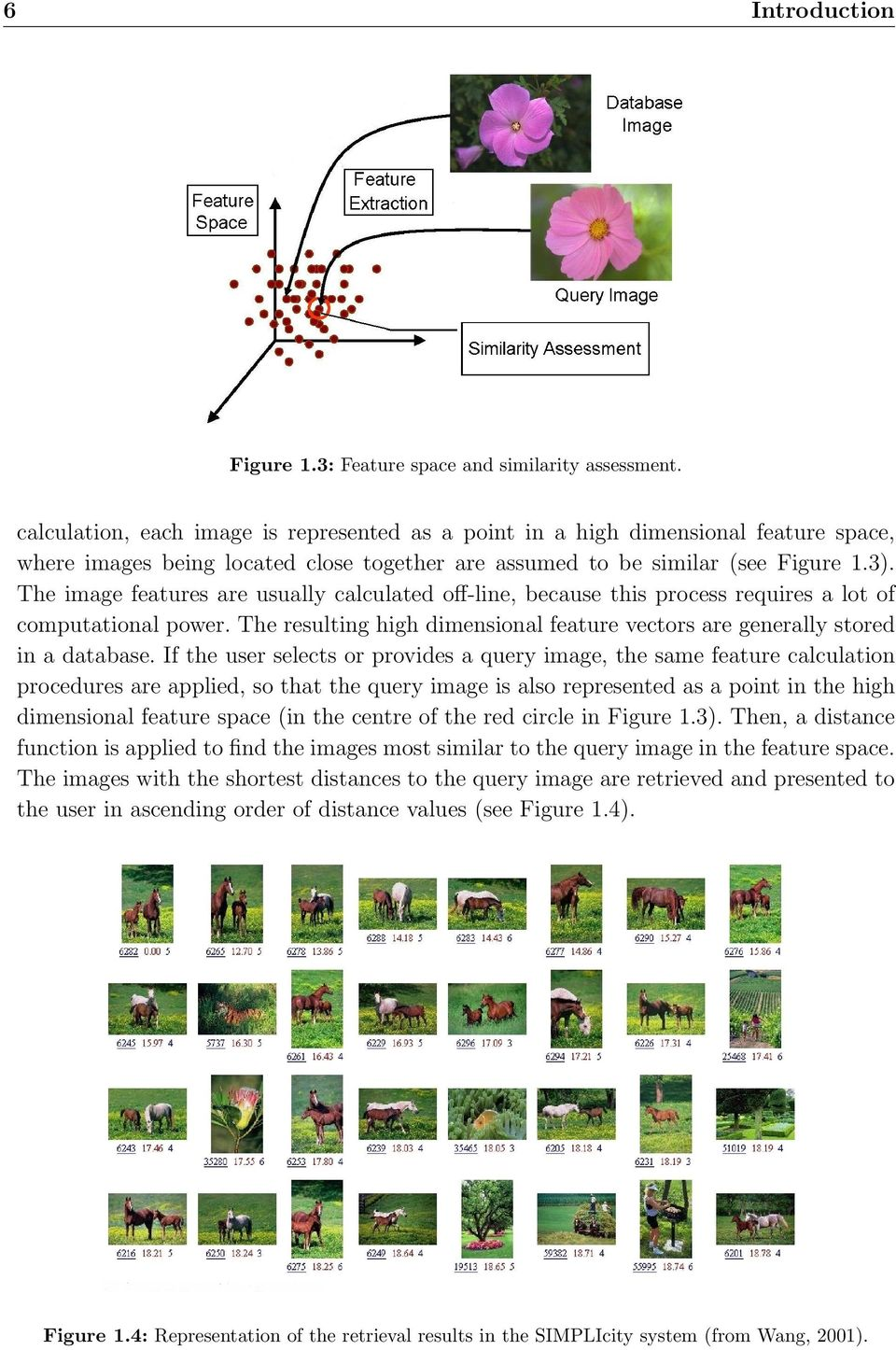 The image features are usually calculated off-line, because this process requires a lot of computational power. The resulting high dimensional feature vectors are generally stored in a database.