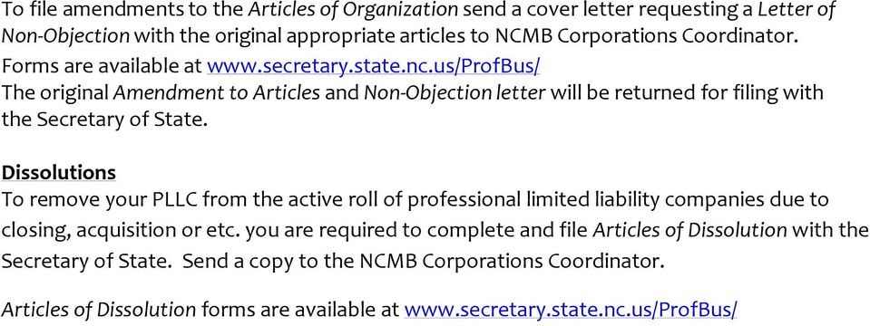 us/profbus/ The original Amendment to Articles and Non Objection letter will be returned for filing with the Secretary of State.