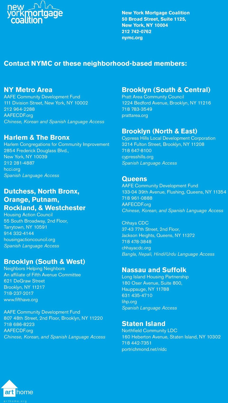 org Chinese, Korean and Spanish Language Access Harlem & The Bronx Harlem Congregations for Community Improvement 2854 Frederick Douglass Blvd., New York, NY 10039 212 281-4887 hcci.