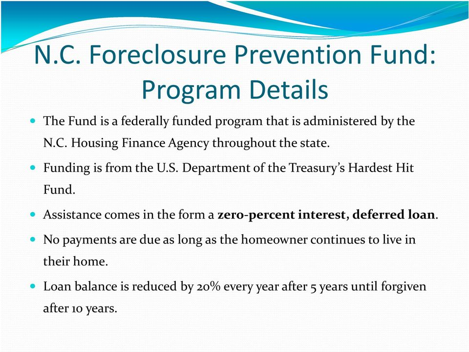 Department of the Treasury s Hardest Hit Fund. Assistance comes in the form a zero percent interest, deferred loan.